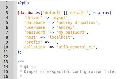 настройки для подключения к базе данных MySQL