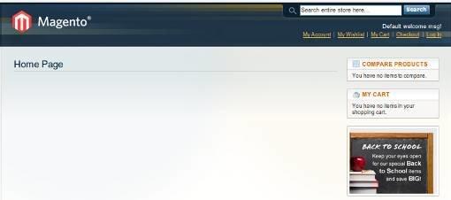 главная страница сайта Magento