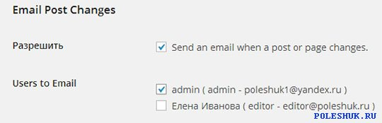 Email Post Changes для WordPress